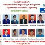 Students placed in Bajaj Auto Ltd