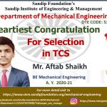 Aftab Shaikh Placed at TCS