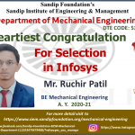 Ruchir Patil Placed at Infosys