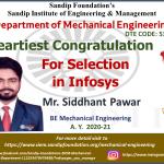 Sidhhant Pawar Placed at Infosys