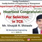 Vinayak Shewale Placed at TCS