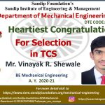 Mr. Vinayak R. Shewale Placed at TCS 2020-21