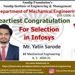 Yatin Sarode Placed at infosys