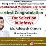Ashutosh Kharche placed in Infosys